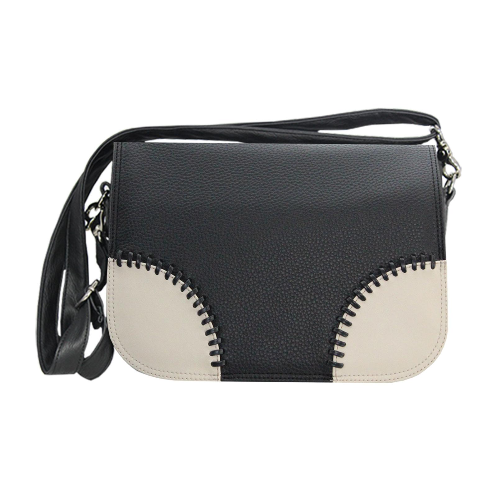 Damenhandtasche in schwarz mit cremefarbenen Ecken Komplett Vorteilsset