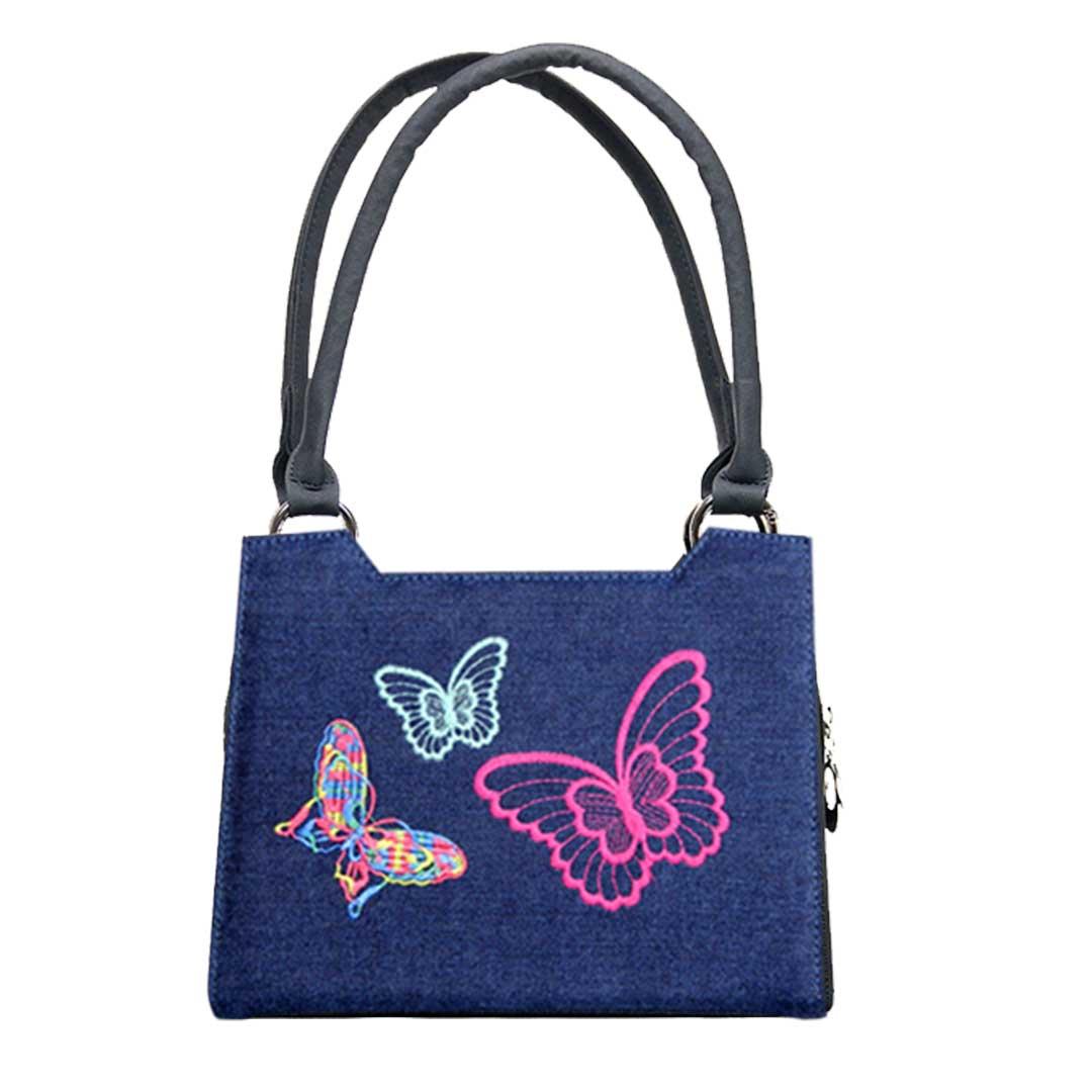 blaues Jeansdesign mit getsickten Schmetterlingen im Komplett Set Handtasche mini