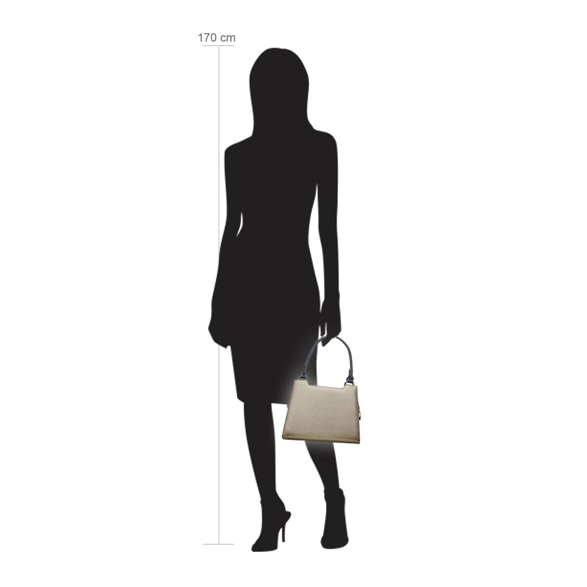 Modellpuppe 170 cm groß zeigt die Handtaschengröße an der Person Modell:Yukon