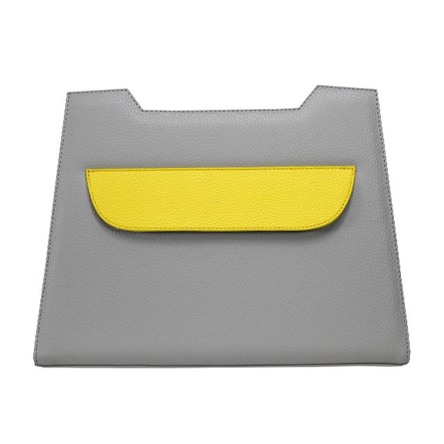 Lissabon Design grau mit gelber Klappe quer über dem Design