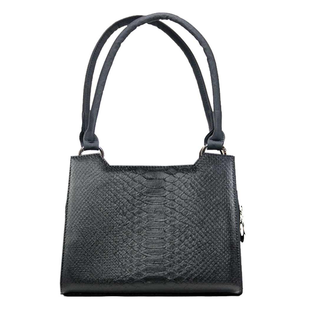 schwarze Handtasche im Reptilienlook Komplett Set Delieta mini