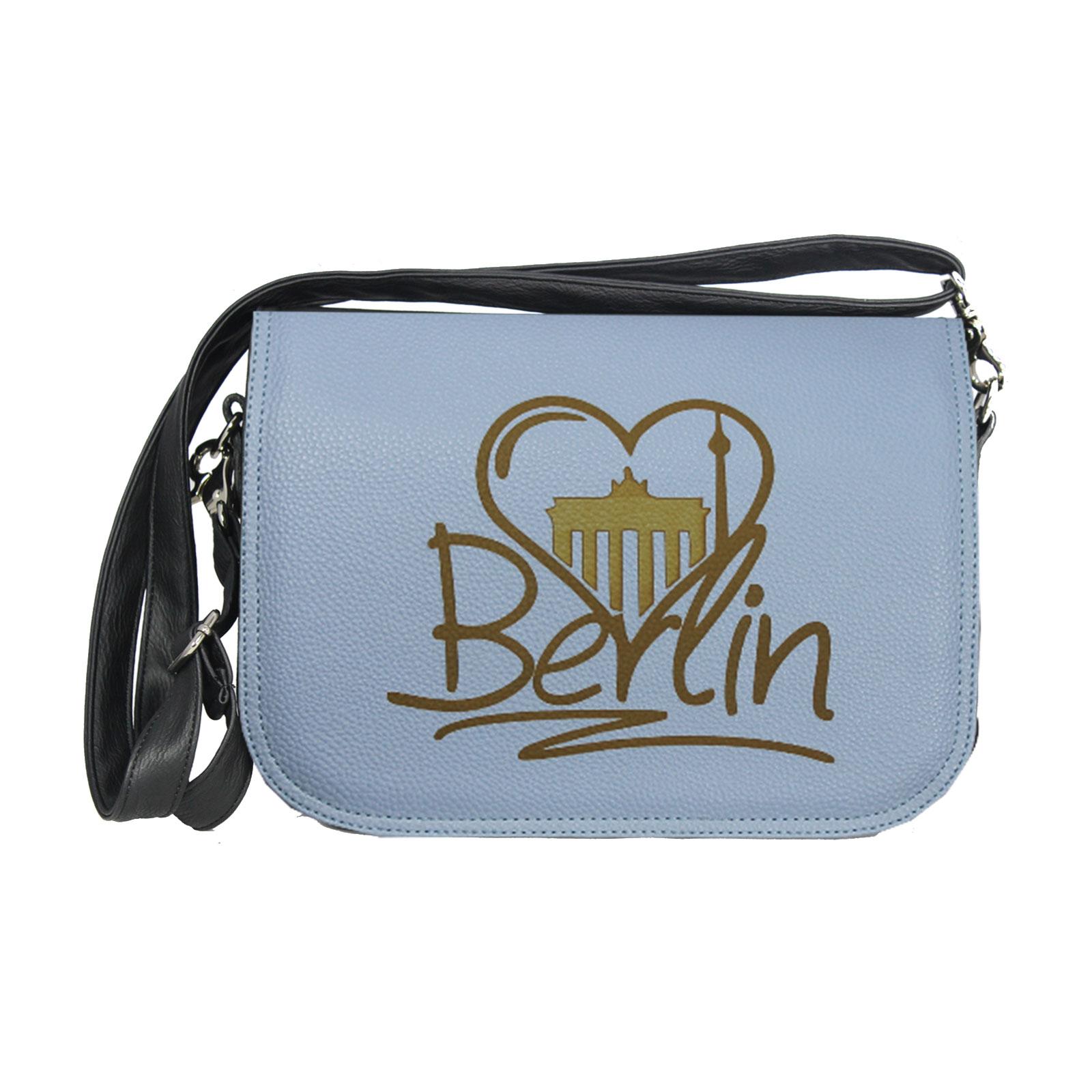 zarte blaue Handtasche mit Lasergravur Berlin