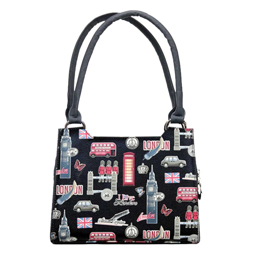 kleine Handtasche mit London Elementen als Komplett Set  schwarz und bunt