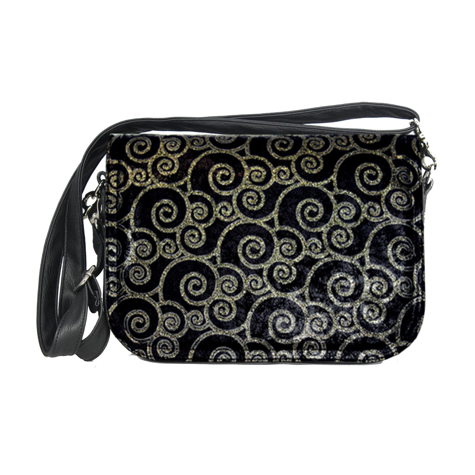 schwarze Handtasche mit goldfarbenen Muster
