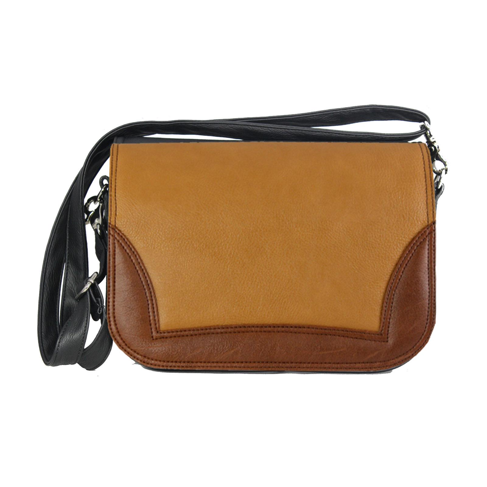 Damenhandtasche im warmen Braunton und Dunkelbrauen Seitenelement