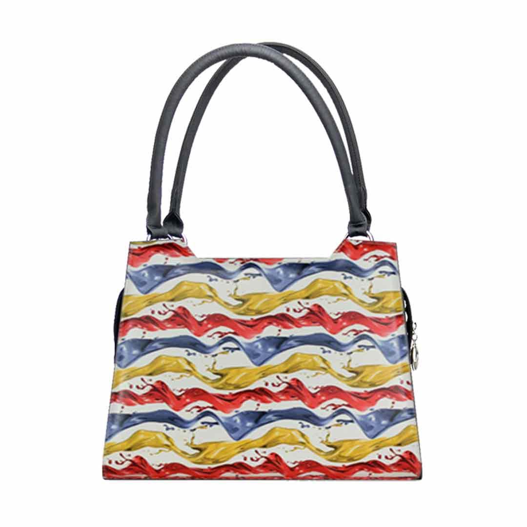 Handtasche mit blau gelben und roten Wellen Modell  elegance