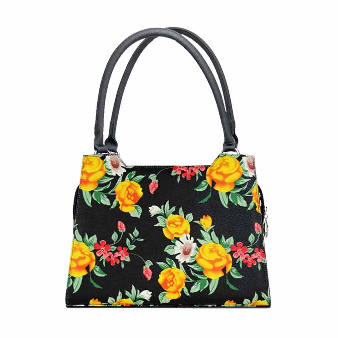 schwarze Blumentasche mit kräftigen Farben  Modell elegance