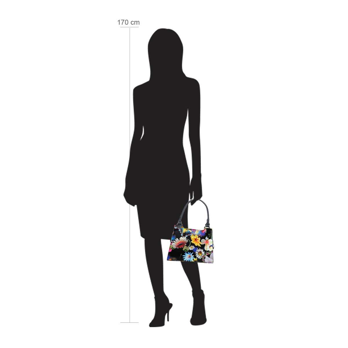 Modellpuppe 170 cm groß zeigt die Handtaschengröße an der Person Modell:Bahia