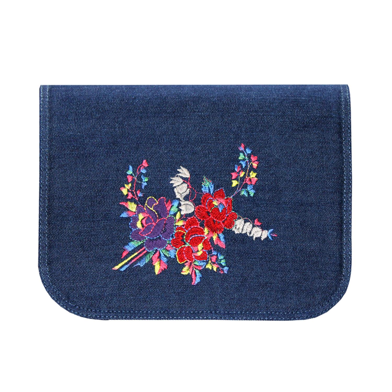 blaues Jeans Design mit Stickereien in Bunt für Handtaschen der soft Bag Serie von Delieta