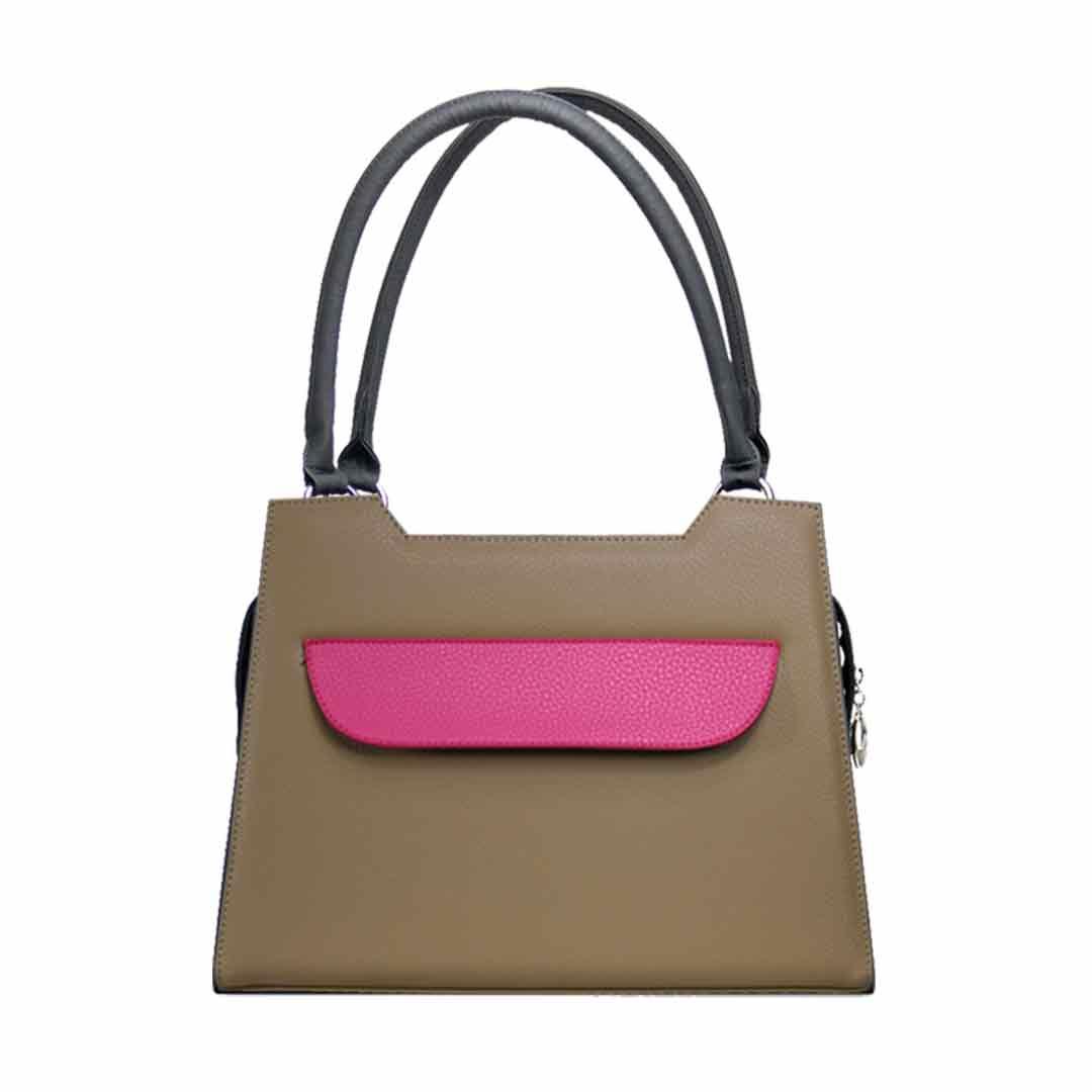 braune Handtasche elegance mit pinkfarbener Klappe