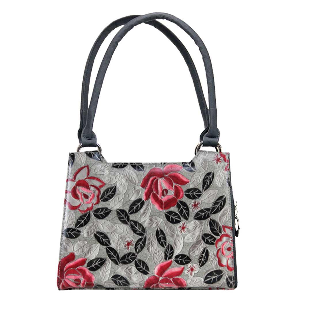 Mini Handtasche mit grauen Design und roten Blumen mit schwarzen Elementen