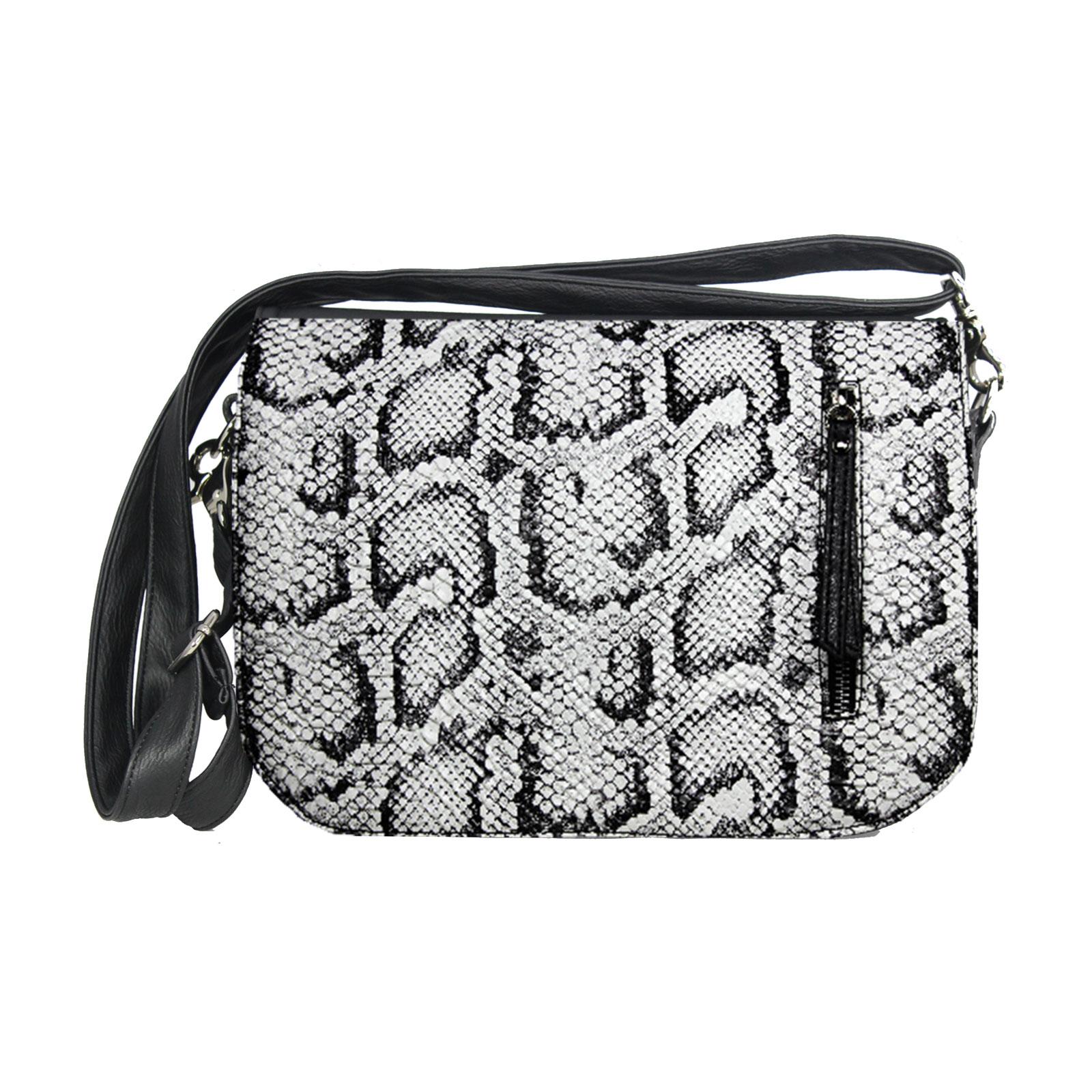 schwarz weiße Handtasche soft im Animallook