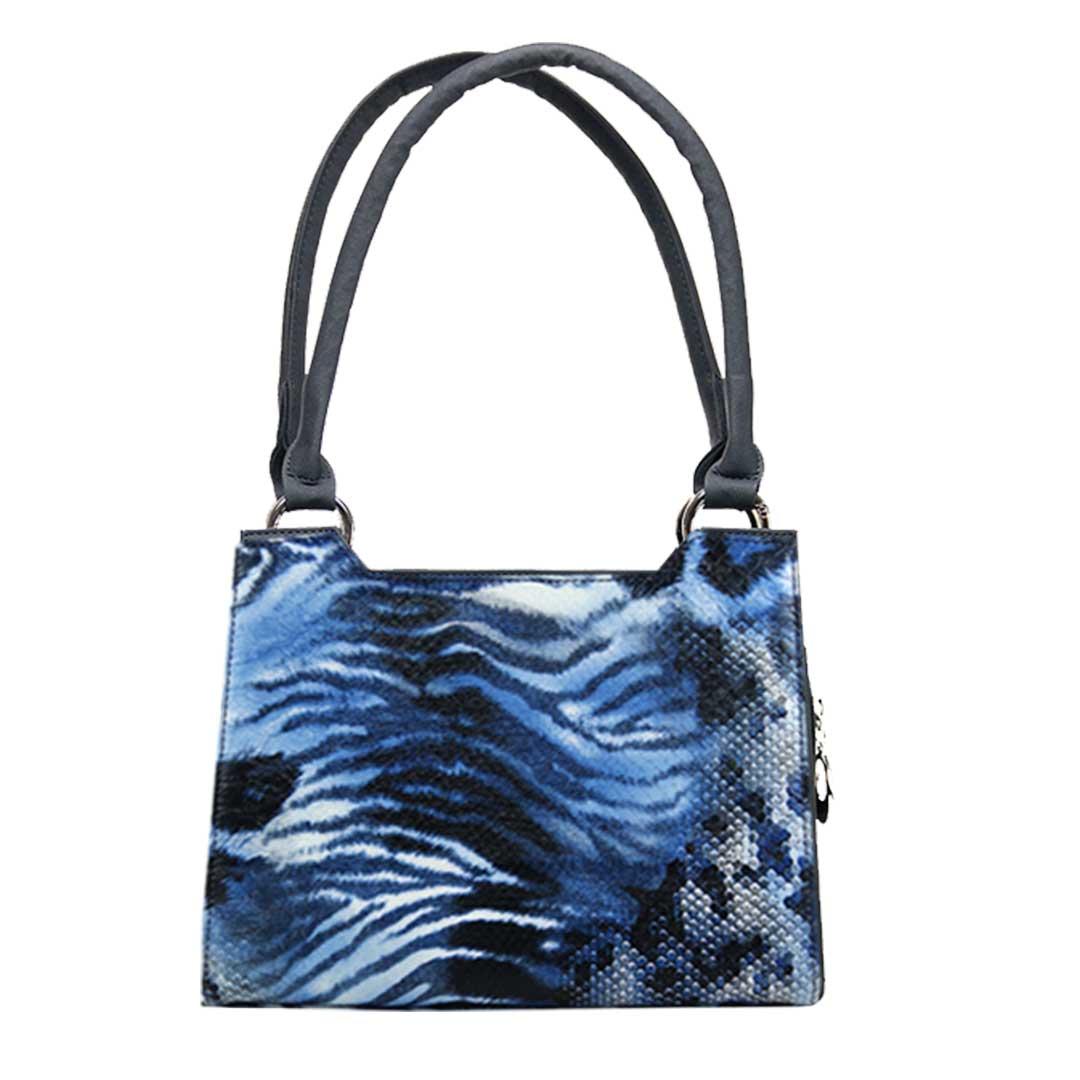 blau weiss schwarze Wellen als Komplett Set Delieta mini Handtasche