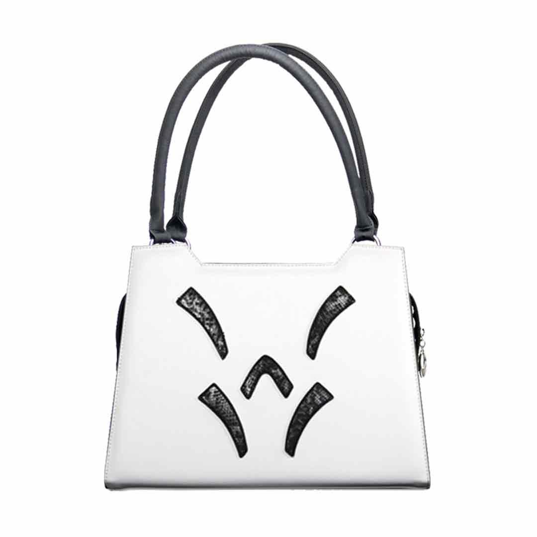 Weiße Handtasche elegance mit 5 Reptiliendesign Elementen