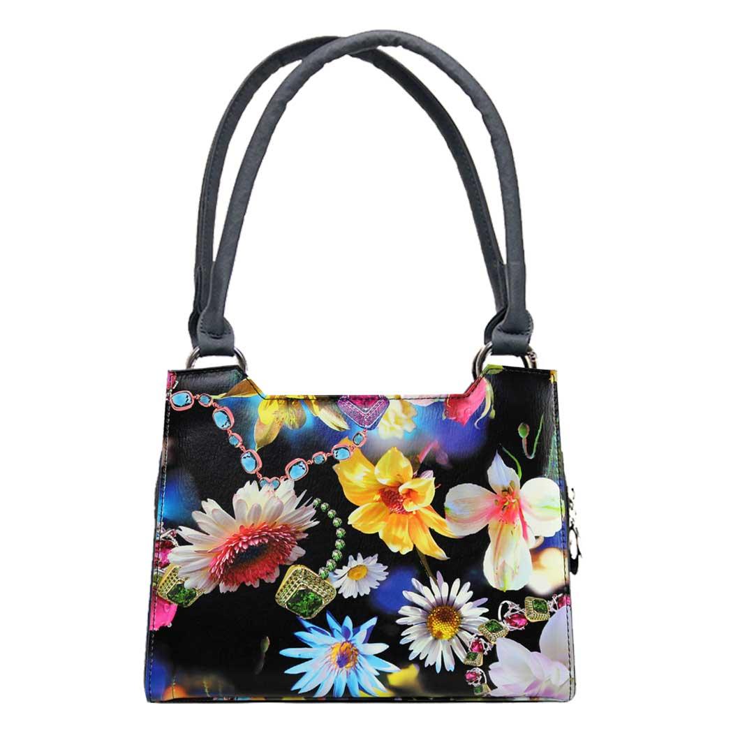 Frühlingsblumen auf schwarzen Grund als Komplett Handtasche von Delieta