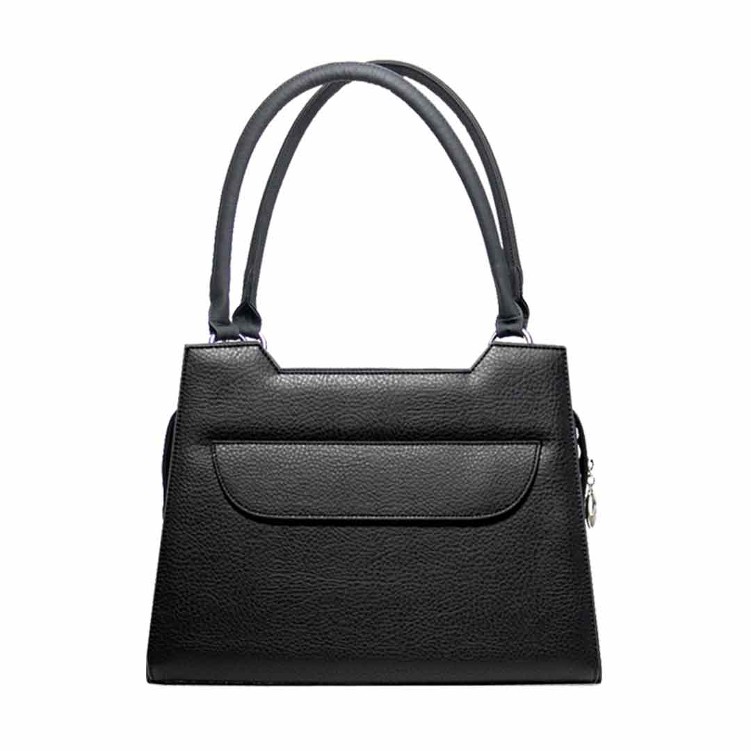 klassisch schwarze Handtasche mit Klappe