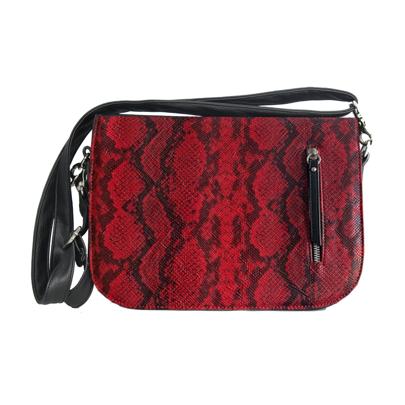 dunkelrote handtasche im Animalprint Design
