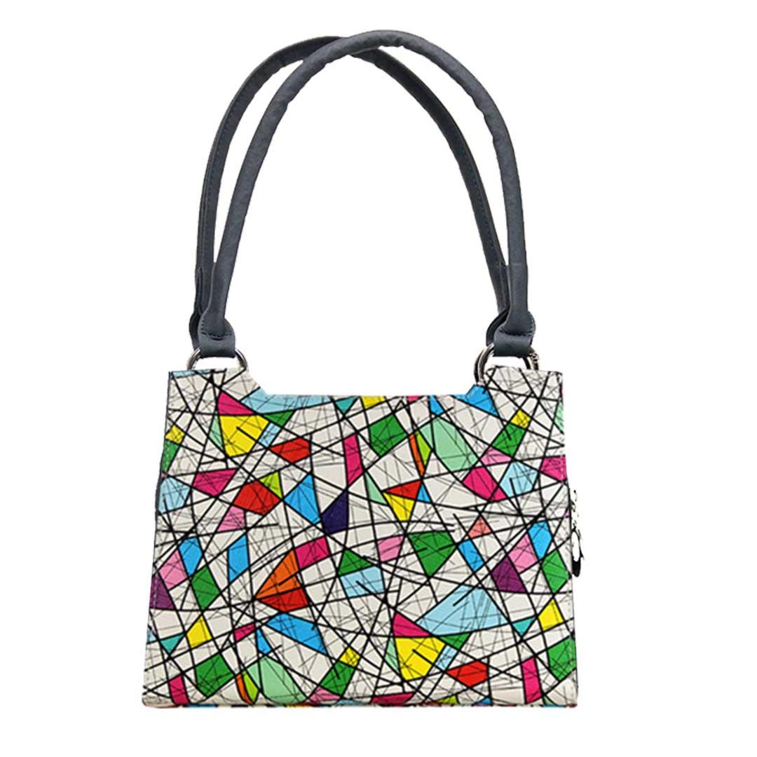 bunte Dreiecke im Picasso Style Handtasche Komplett