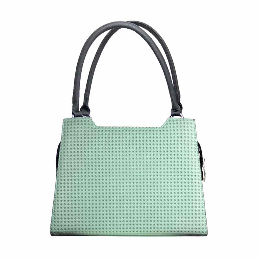 Lindgrüne Handtasche mit Laser Karonetz als komplett Set